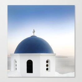 Santorini White and Blue Church View Canvas Print