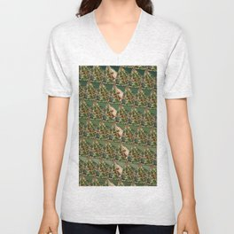 3D triangles with camo pattern Unisex V-Neck