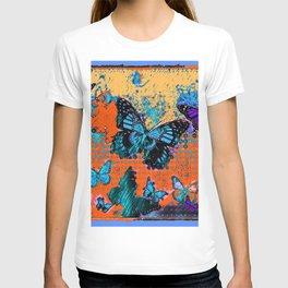 Artistic Orange-Blue Monarch Butterflies Design Pattern T-shirt