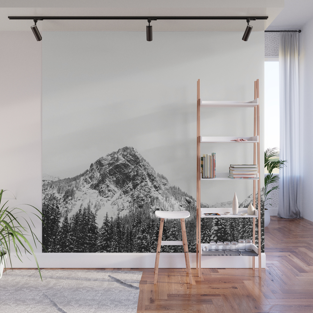 Mountain Range Bw Wall Mural by Michellepnw WMP8953784