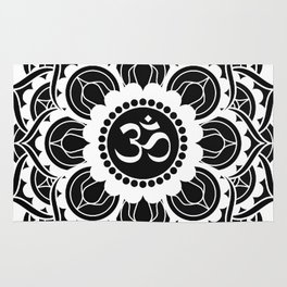 Black and White Mandala | Flower Mandhala Rug