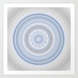 Elegant Blue Silver China Inspired Mandala Art Print