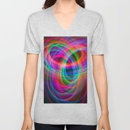 Spirograph rainbow light painting Unisex V-Neck