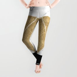 Golden marble deco geometric Leggings