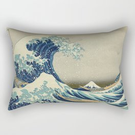 The Classic Japanese Great Wave off Kanagawa Print by Hokusai Rectangular Pillow