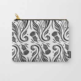 Thistles - Black and White Pattern Carry-All Pouch