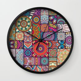 Boho Patchwork Quilt Pattern 2 Wall Clock