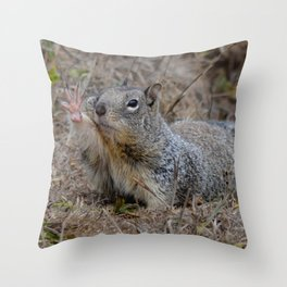squirrel salute Throw Pillow