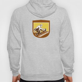 Roofer Roofing Worker Crest Shield Retro Hoody
