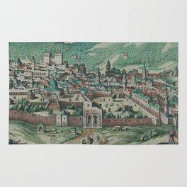Vintage Map of Jerusalem, Nazareth and Rame Israel Rug