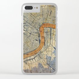 New Orleans Louisiana 1932 vintage map, NO old colorful artwork Clear iPhone Case