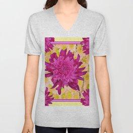 Styalized Art Purple & Yellow Chrysanthemums Floral Garden Unisex V-Neck