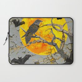 HALLOWEEN NIGHT BATS & RAVEN GOLDEN  MOON Laptop Sleeve