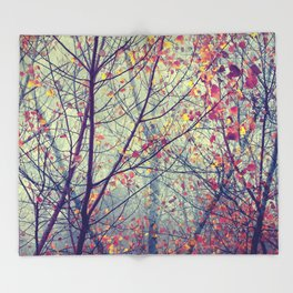 trees misty morning Throw Blanket