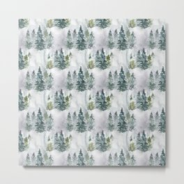 Watercolor forest green snow Christmas pine tree Metal Print