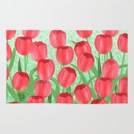 Red Tulip Field Rug