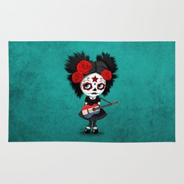 Day of the Dead Girl Playing Dutch Flag Guitar Rug