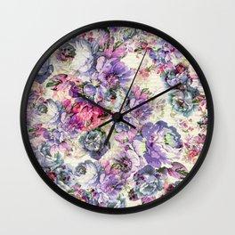 Vintage bohemian rustic pink lavender floral Wall Clock