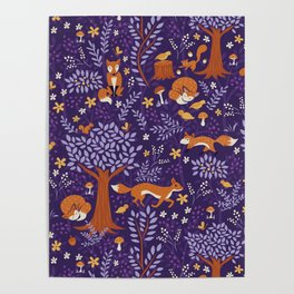 Foxes Playing in a Purple Forest Poster