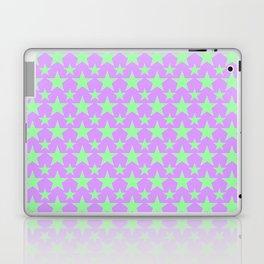 Green Star Pattern on Purple Laptop & iPad Skin
