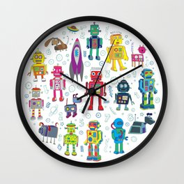 Robots in Space Wall Clock