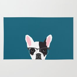 Hadley  - French Bulldog wearing hipster glasses perfect for dog lovers and owners, dog people Rug