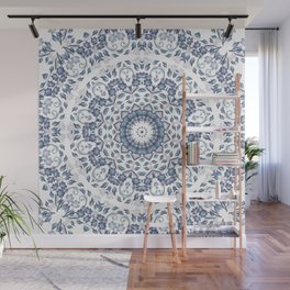 Grayish Blue White Flowers Mandala Wall Mural