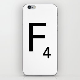 Letter F - Custom Scrabble Letter Tile Art - Scrabble F iPhone Skin