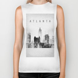 Atlanta skyline Black and white Biker Tank
