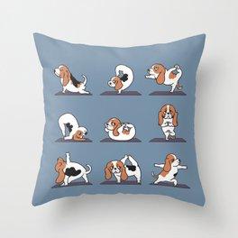 Basset Hound yoga Throw Pillow