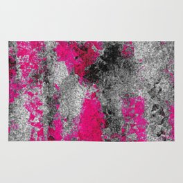 vintage psychedelic painting texture abstract in pink and black with noise and grain Rug
