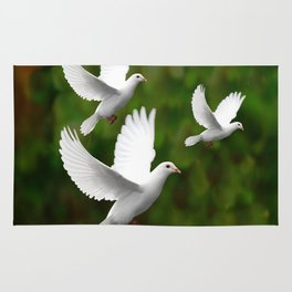THREE CONTEMPORARY WHITE  DOVES IN GREEN Rug