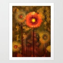 Abstract flowers in golden light Art Print