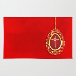 Beautiful red egg with gold cross on rich vibrant texture Rug