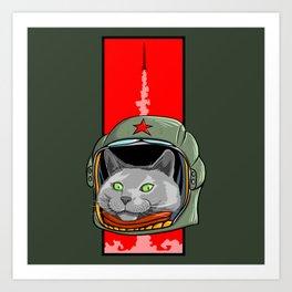 Russian Blue Space Program Art Print