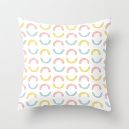 Pastel pink coral blue yellow abstract geometrical circles Throw Pillow