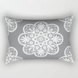 Floral Doily Pattern | Grey and White Rectangular Pillow