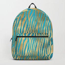 Beautiful Teal & Gold Animal Print Pattern Backpack