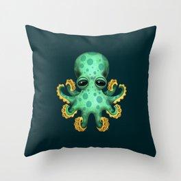 Cute Green Baby Octopus Throw Pillow