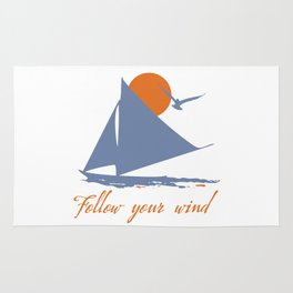 Follow your wind (sail boat) Rug