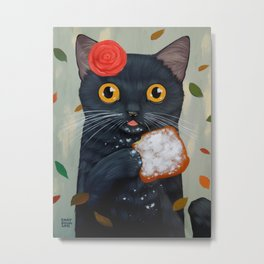 LADY CAT AND BEIGNET Metal Print