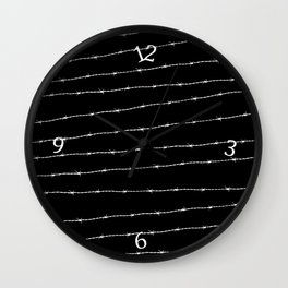 Cool black and white barbed wire pattern Wall Clock