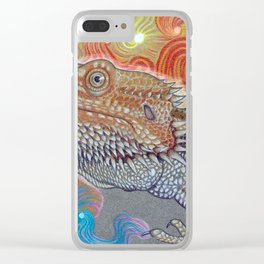 Cosmic Dragon, Bearded Dragon Art Clear iPhone Case