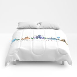 Meet me at my Happy Place Theme Park Skyline Comforters