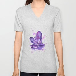 Purple Crystals Unisex V-Neck