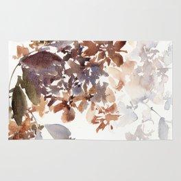 Autumn leaves watercolor art Rug