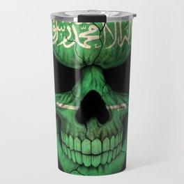 Dark Skull with Flag of Saudi Arabia Travel Mug