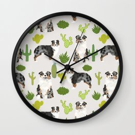Australian Shepherd owners dog breed cute herding dogs aussie dogs animal pet portrait cactus Wall Clock