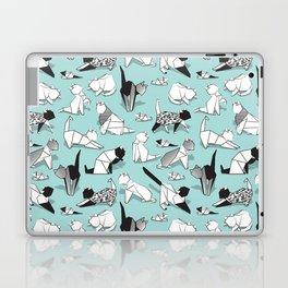 Origami kitten friends // aqua background paper cats Laptop & iPad Skin