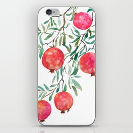 red pomegranate watercolor iPhone Skin